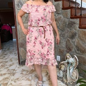No Boundaries off Shoulder High Low Floral Dress